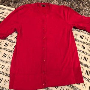 SZ M Eddie Bauer Womens Red Button Up Cardigan